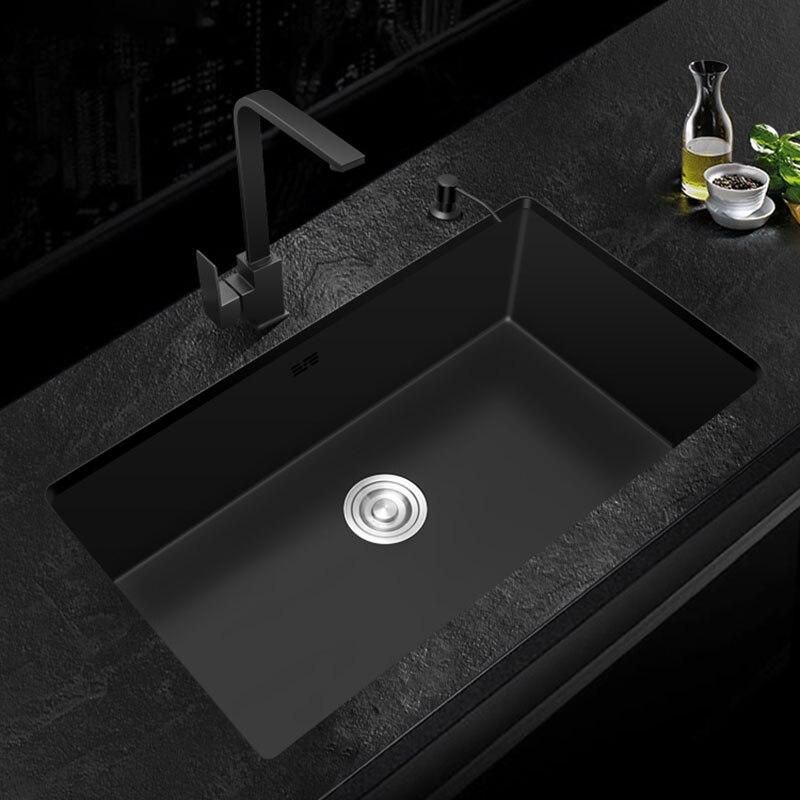 black Kitchen Sink 304 Stainless Steel Single sink kitchen vegetable washing basin black sink  above counter or udermount